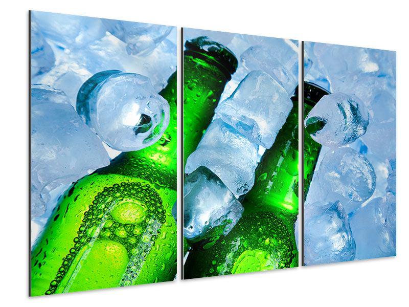 Aluminiumbild 3-teilig Eisflaschen