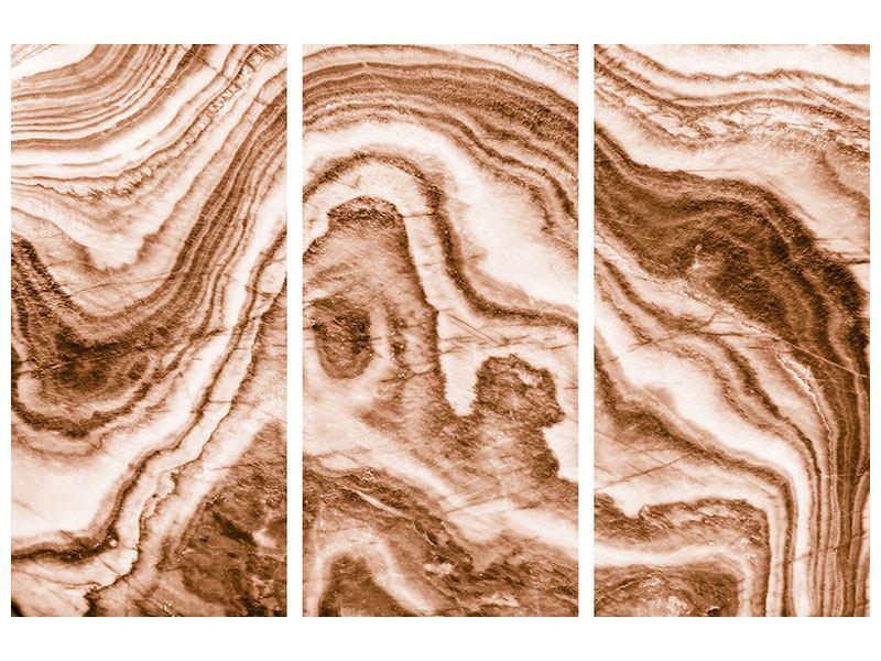 Aluminiumbild 3-teilig Marmor in Sepia