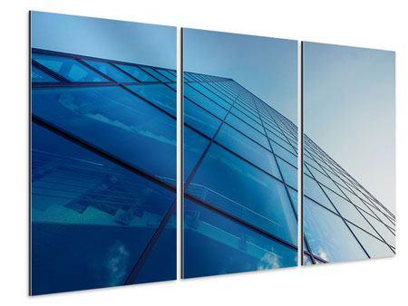 Aluminiumbild 3-teilig Wolkenkratzer-Highlight