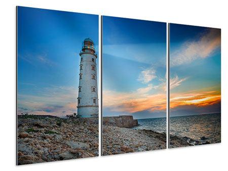 Aluminiumbild 3-teilig Sonnenuntergang am Leuchtturm