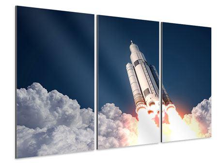 Aluminiumbild 3-teilig Raketenstart