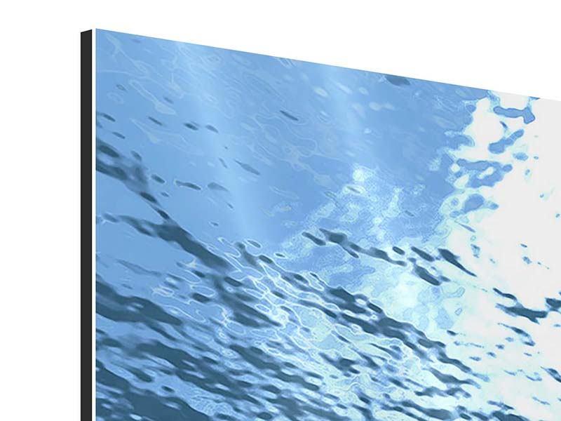 Aluminiumbild 3-teilig Sonnenstrahlen unter Wasser