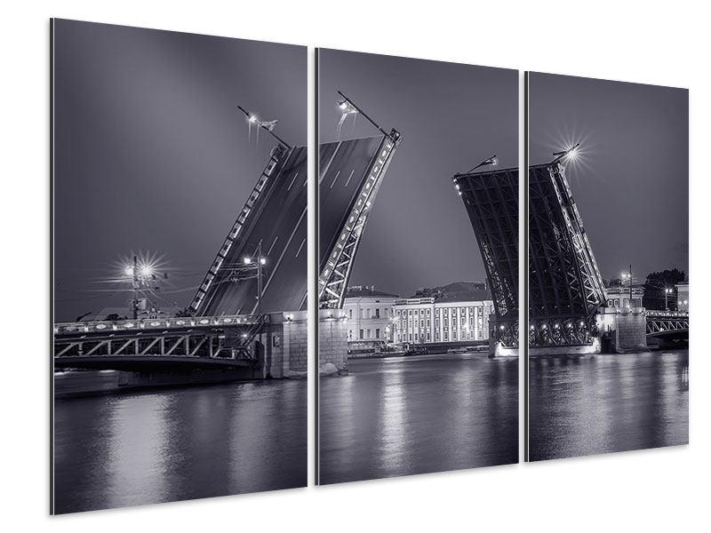Aluminiumbild 3-teilig Klappbrücke bei Nacht