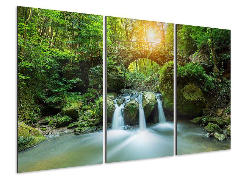 Aluminiumbild 3-teilig Wasserspiegelungen