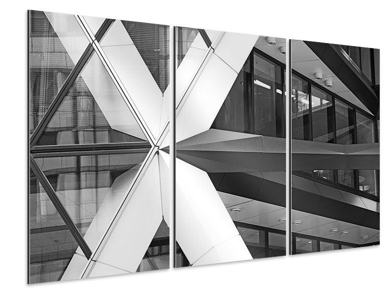Aluminiumbild 3-teilig Teil eines Wolkenkratzers