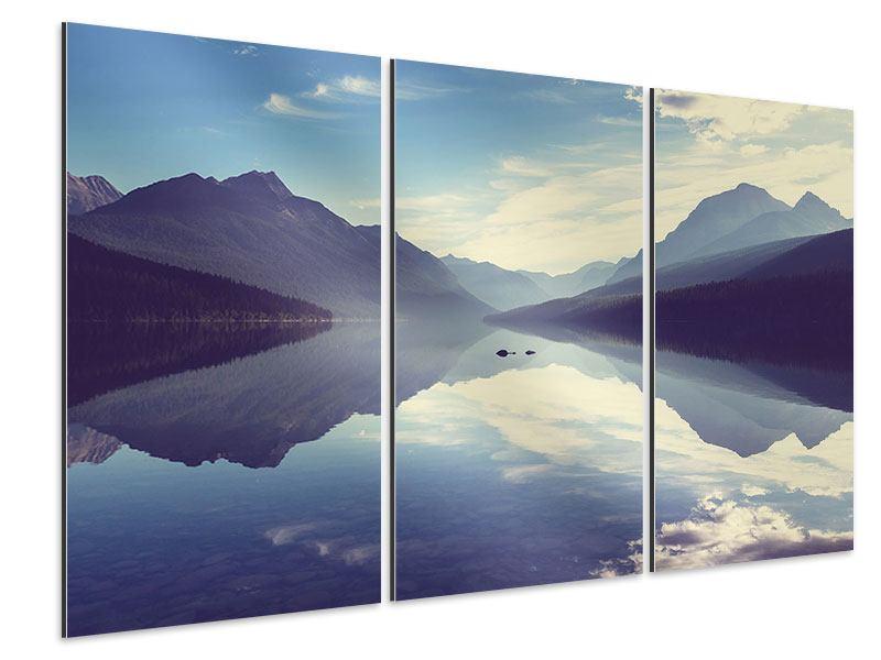 Aluminiumbild 3-teilig Bergspiegelung