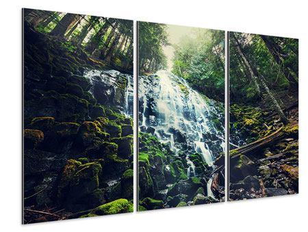 Aluminiumbild 3-teilig Feng Shui & Wasserfall