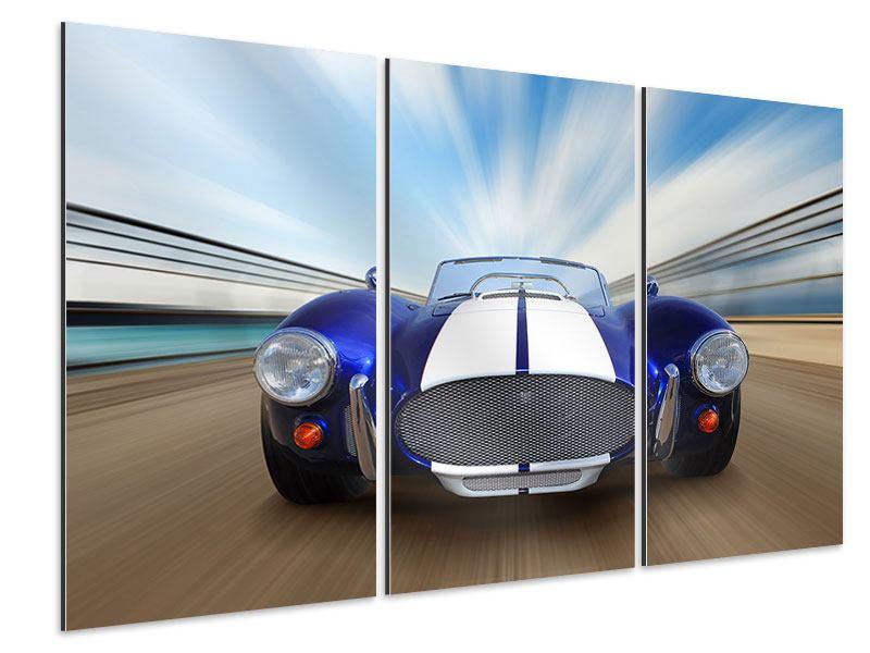 Aluminiumbild 3-teilig Rennwagen