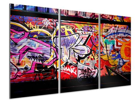 Aluminiumbild 3-teilig Graffiti Kunst