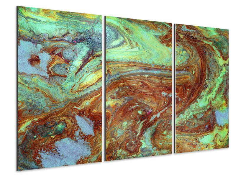Aluminiumbild 3-teilig Marmor in Grün