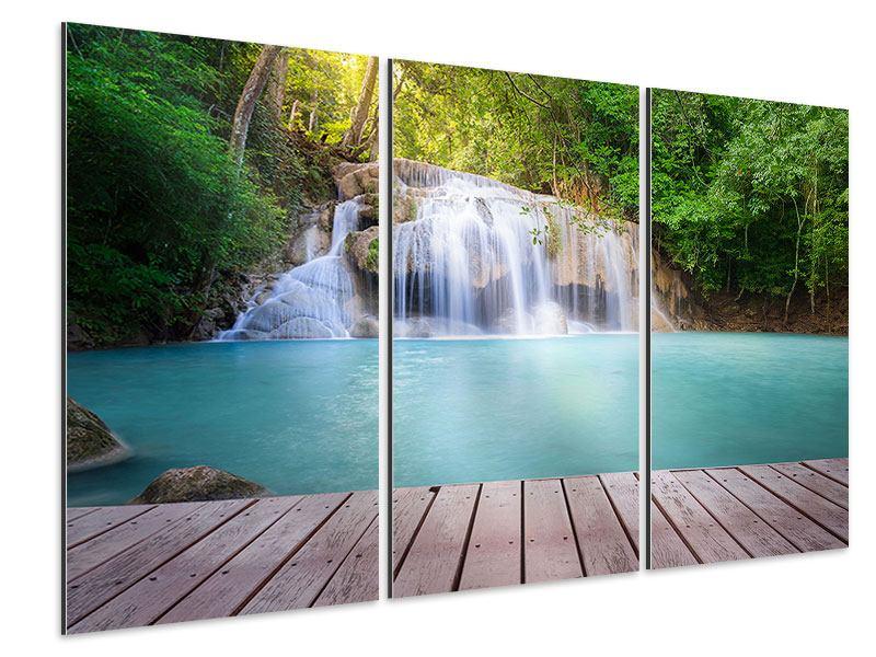 Aluminiumbild 3-teilig Terrasse am Wasserfall