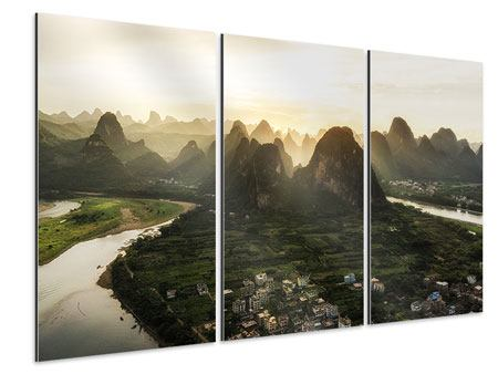 Aluminiumbild 3-teilig Die Berge von Xingping