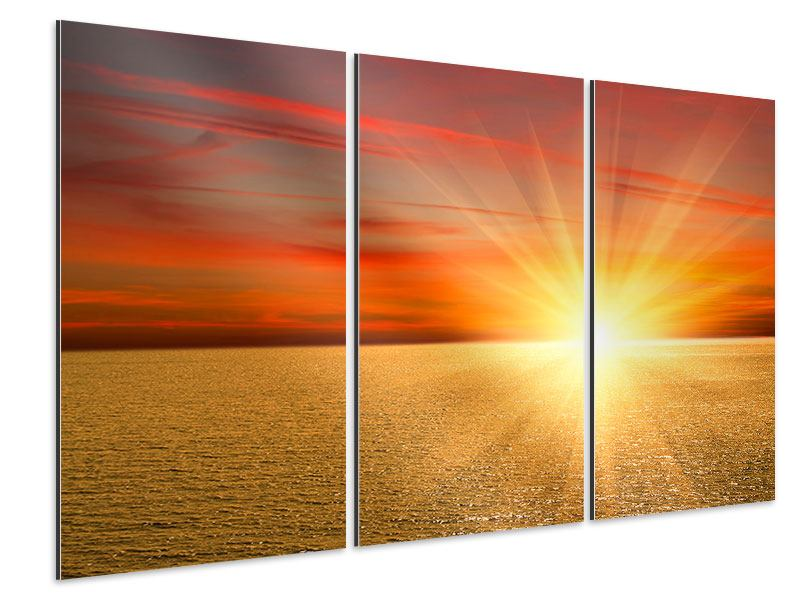 Aluminiumbild 3-teilig Der Sonnenuntergang