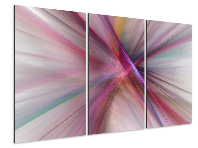 3 Piece Aluminium Print Abstract Lights Shine