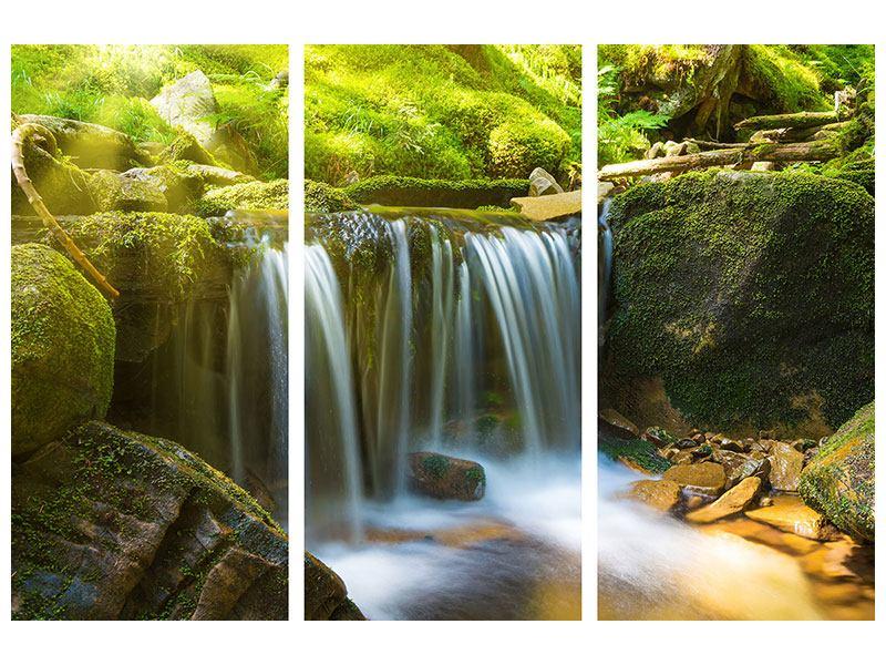 Aluminiumbild 3-teilig Schönheit des fallenden Wassers