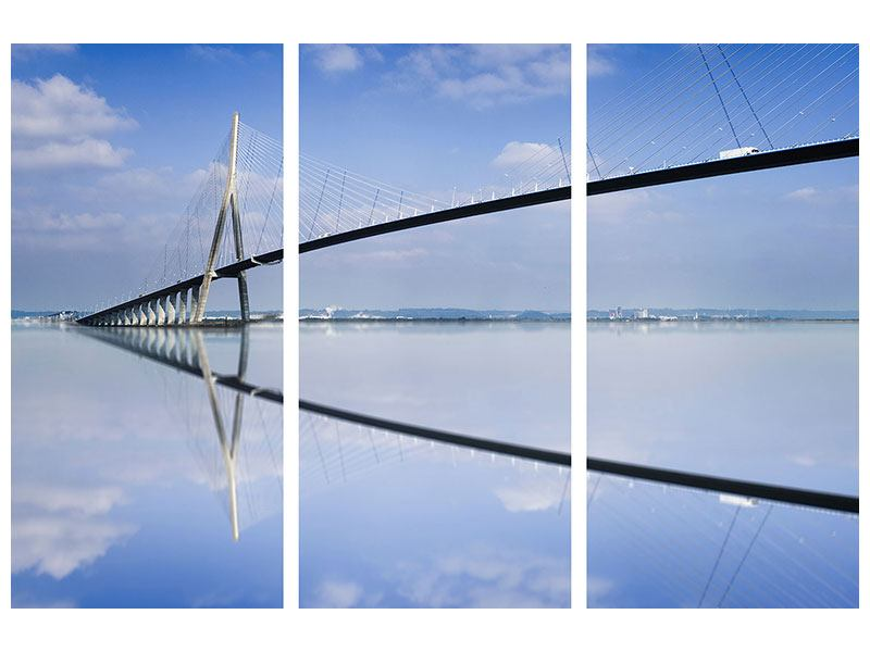 Aluminiumbild 3-teilig Die Pont de Normandie