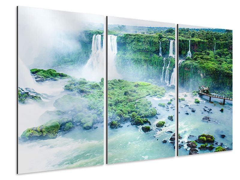 Aluminiumbild 3-teilig Wasserfälle