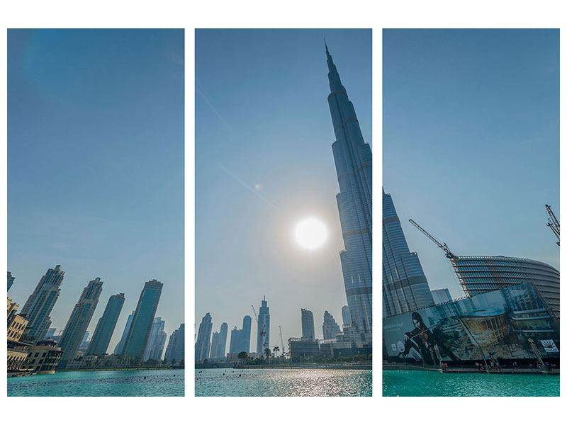 Aluminiumbild 3-teilig Wolkenkratzer-Architektur Dubai