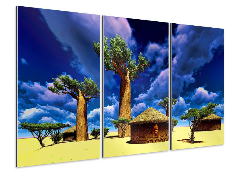 Aluminiumbild 3-teilig Ein Dorf in Afrika