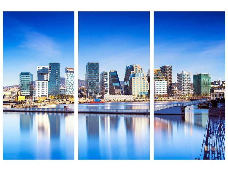 Aluminiumbild 3-teilig Skyline Oslo