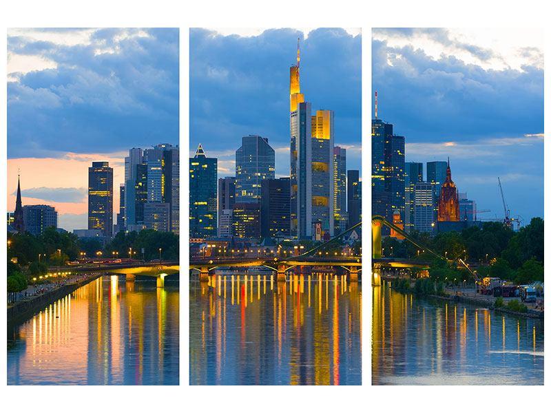Aluminiumbild 3-teilig Skyline Frankfurt am Main