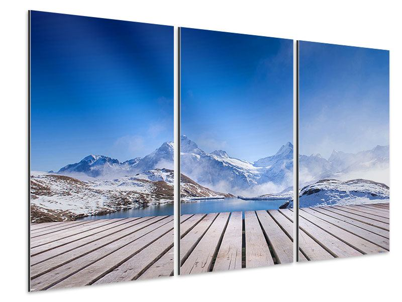 Aluminiumbild 3-teilig Sonnenterrasse am Schweizer Bergsee