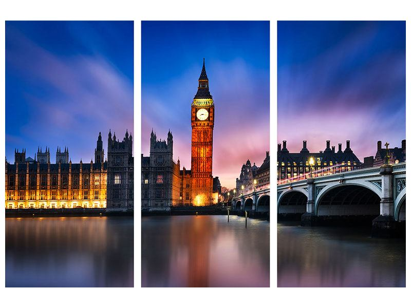 Aluminiumbild 3-teilig Nachts am Big Ben