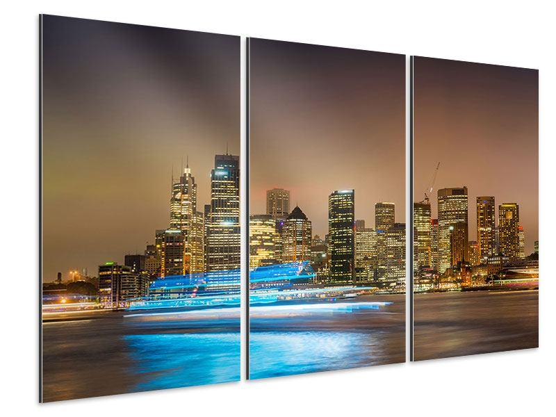 Aluminiumbild 3-teilig Skyline Sydney im Lichtermeer