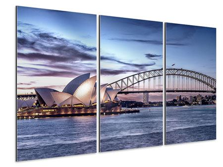 Aluminiumbild 3-teilig Skyline Sydney Opera House