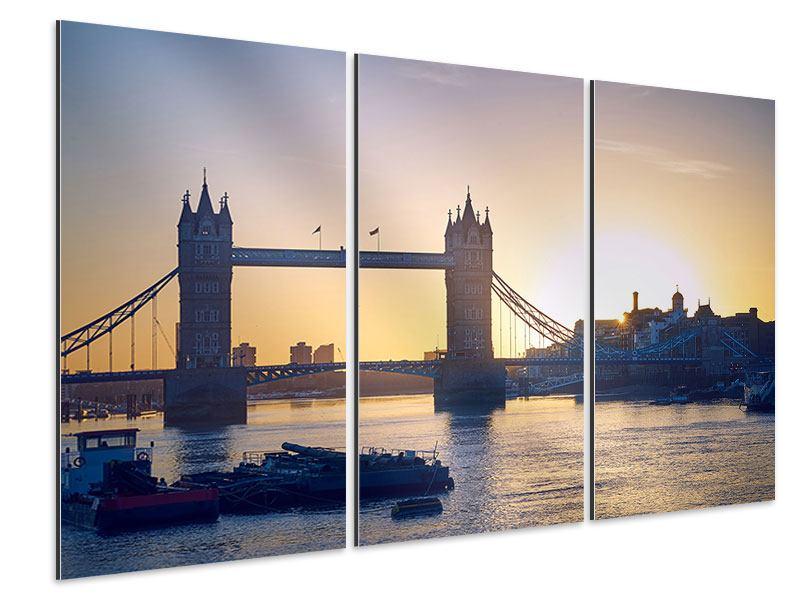 Aluminiumbild 3-teilig Tower Bridge bei Sonnenuntergang