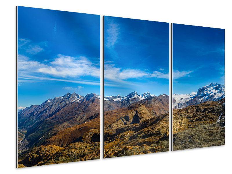 Aluminiumbild 3-teilig Schweizer Alpen im Frühling