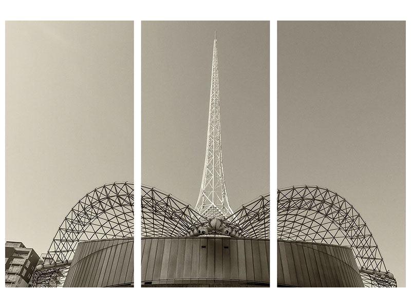 Aluminiumbild 3-teilig Close Up Wolkenkratzer
