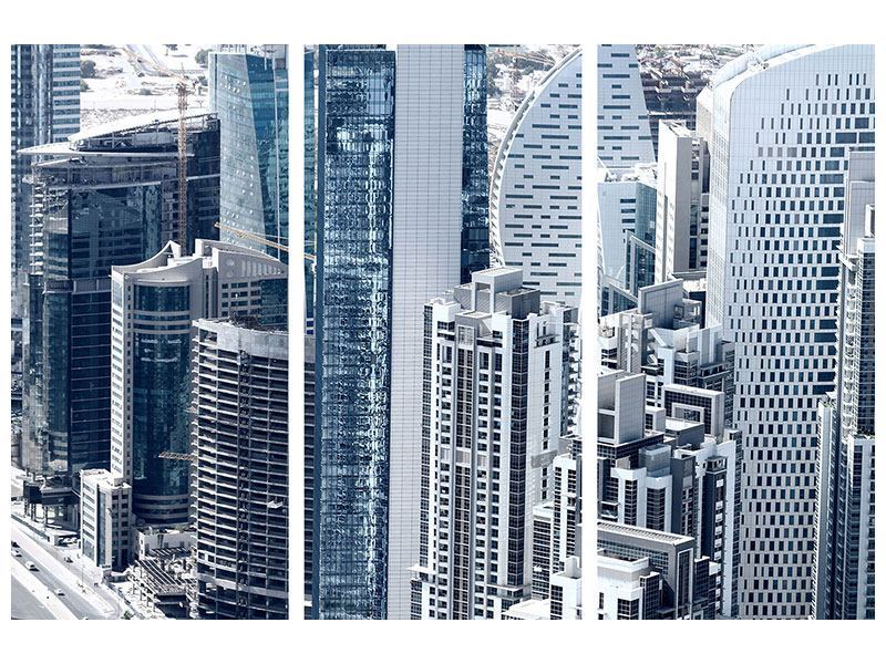 Aluminiumbild 3-teilig Die Wolkenkratzer von Dubai
