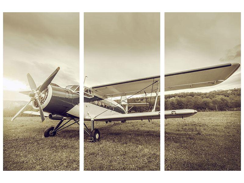 Aluminiumbild 3-teilig Nostalgisches Flugzeug im Retrostyle