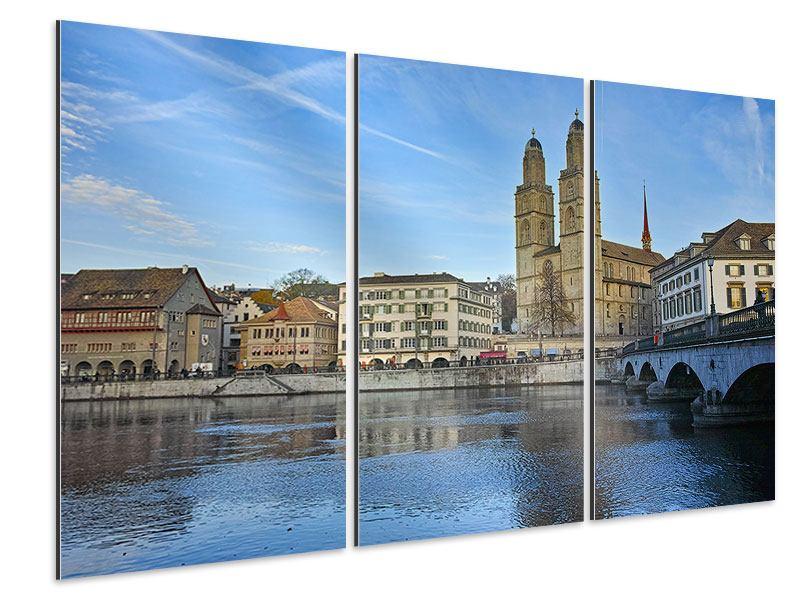 Aluminiumbild 3-teilig Die Altstadt von Zürich