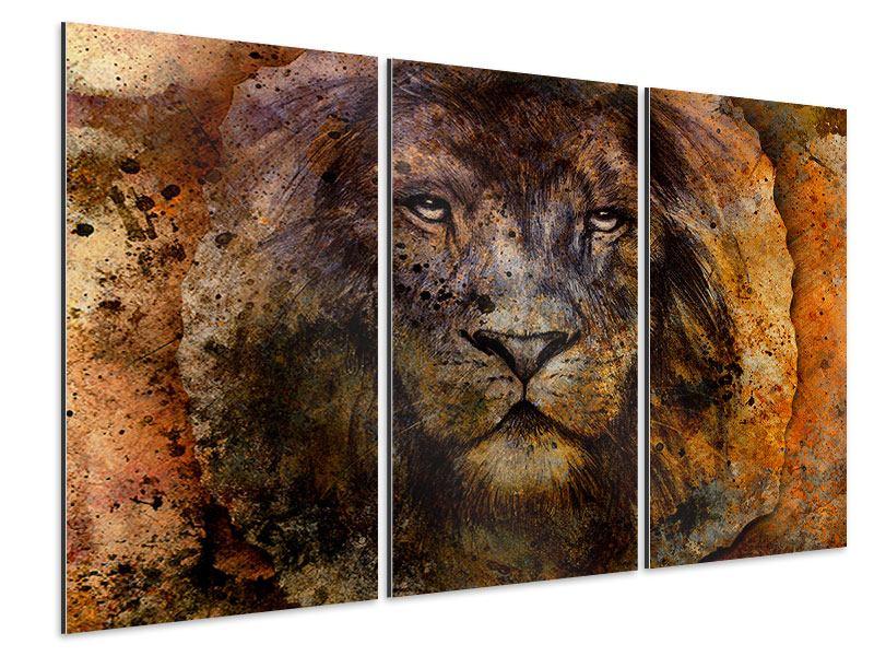 Aluminiumbild 3-teilig Portrait eines Löwen