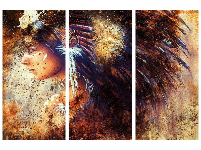 Aluminiumbild 3-teilig Indianer