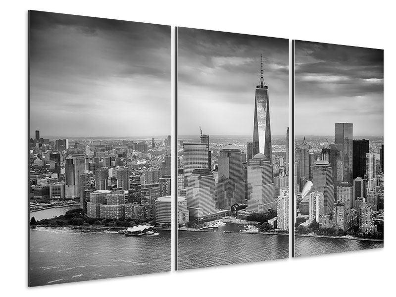 Aluminiumbild 3-teilig Skyline Schwarzweissfotografie New York