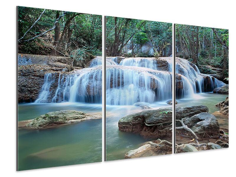 Aluminiumbild 3-teilig Ein Wasserfall