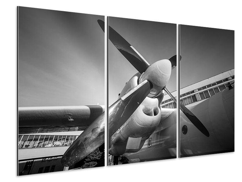 Aluminiumbild 3-teilig Nostalgisches Flugzeug