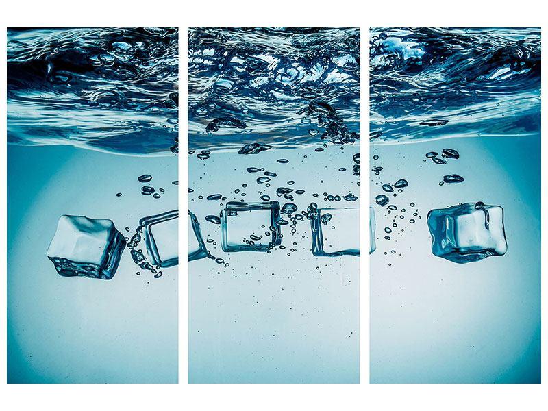 Aluminiumbild 3-teilig Eiswürfel-Quadro
