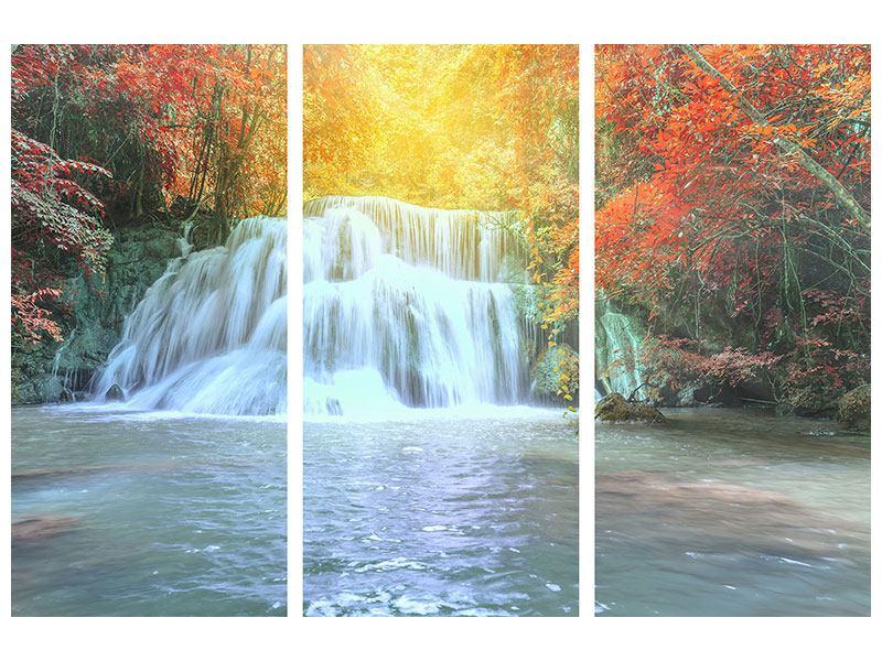 Aluminiumbild 3-teilig Wasserfall im Licht