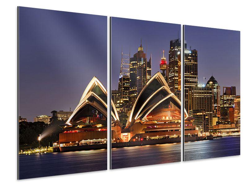 Aluminiumbild 3-teilig Skyline Mit dem Boot vor Sydney