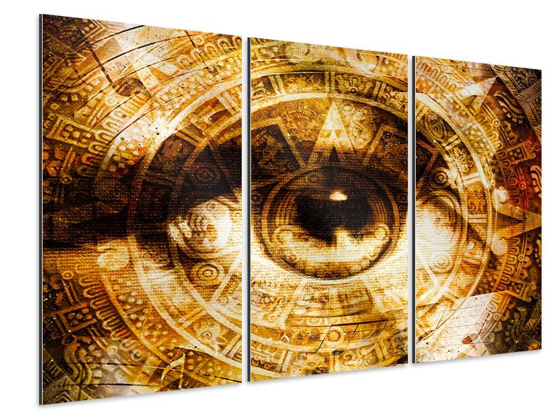 Aluminiumbild 3-teilig Fraktales Auge