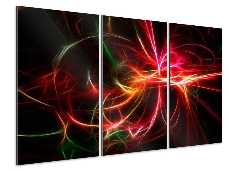 Aluminiumbild 3-teilig Fraktales Lichtspektakel