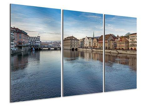 Aluminiumbild 3-teilig Kosmopolitisches Zürich