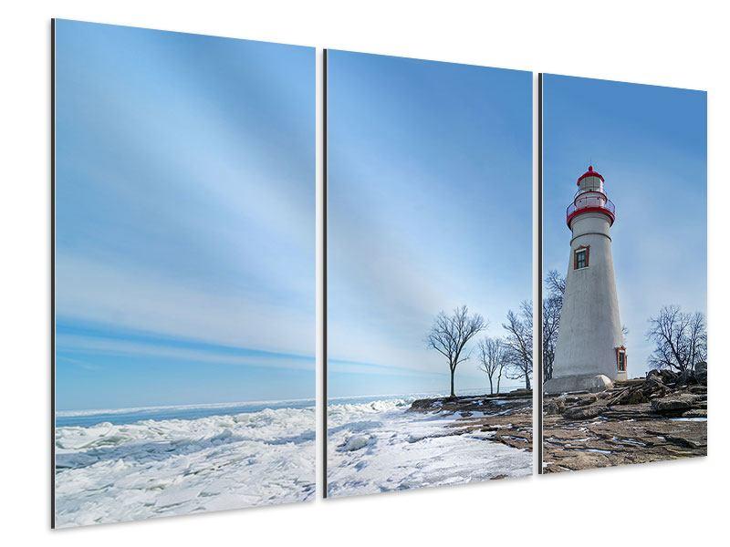 Aluminiumbild 3-teilig Leuchtturm im Schnee