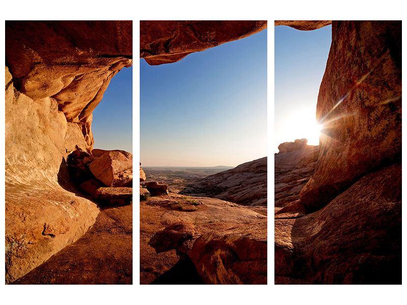 Aluminiumbild 3-teilig Sonnenuntergang vor der Höhle