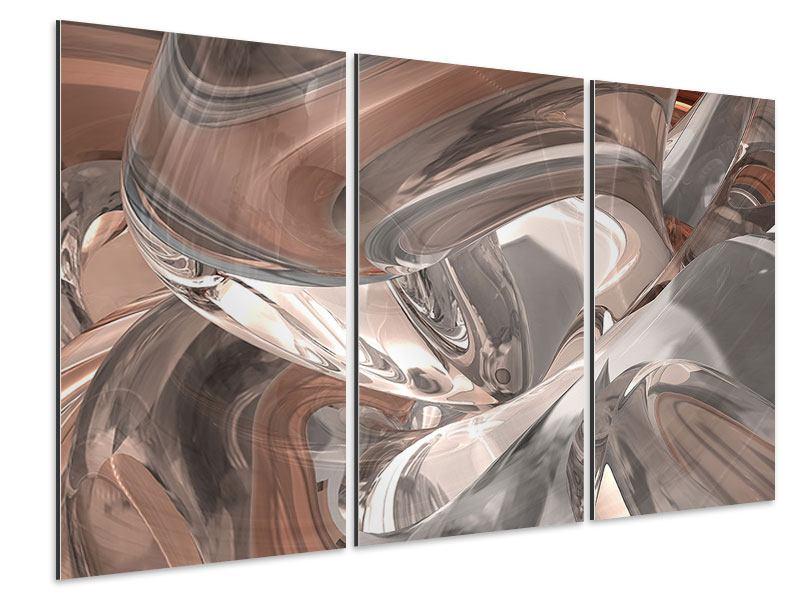 Aluminiumbild 3-teilig Abstraktes Glasfliessen