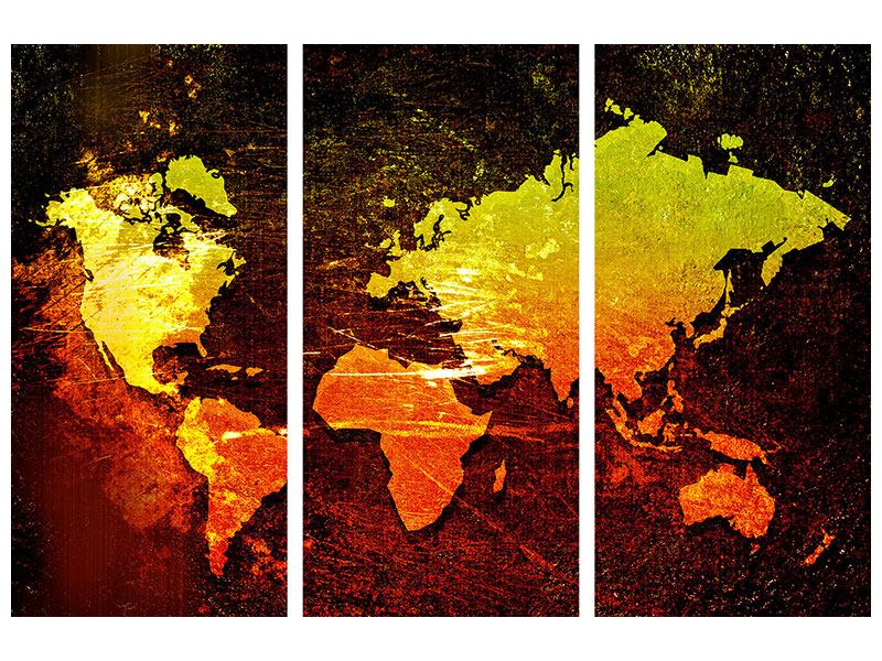 Aluminiumbild 3-teilig Retro-Weltkarte